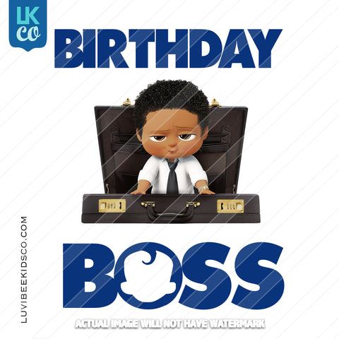 Boss Baby Iron On Transfer | African American Boy | Briefcase | Birthday Boss - LuvibeeKidsCo