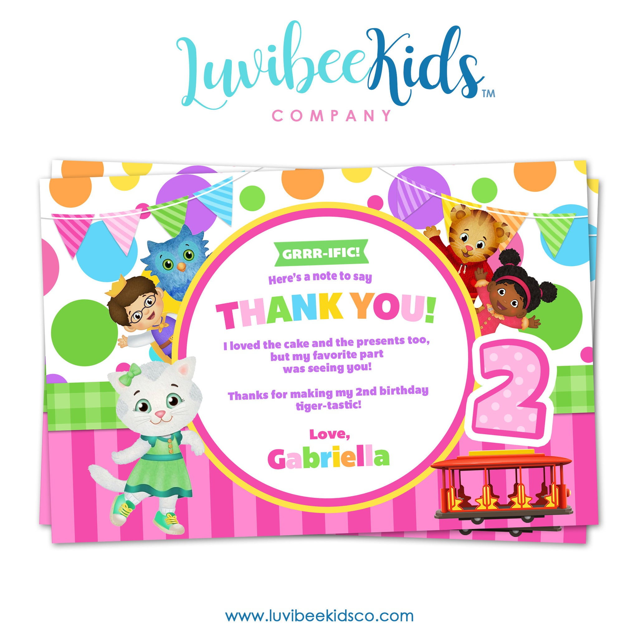 Daniel Tiger Personalized Thank You Card | Pink Dots - LuvibeeKidsCo