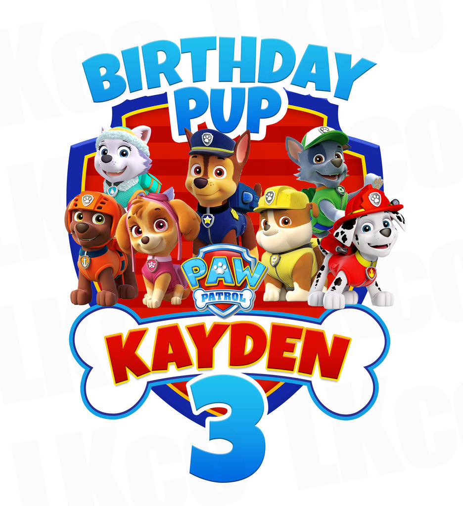 Paw Patrol Iron On Transfer - Bone | Birthday Pup - LuvibeeKidsCo