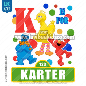 Sesame Street Iron On Birthday Shirt Design | Letter & Name