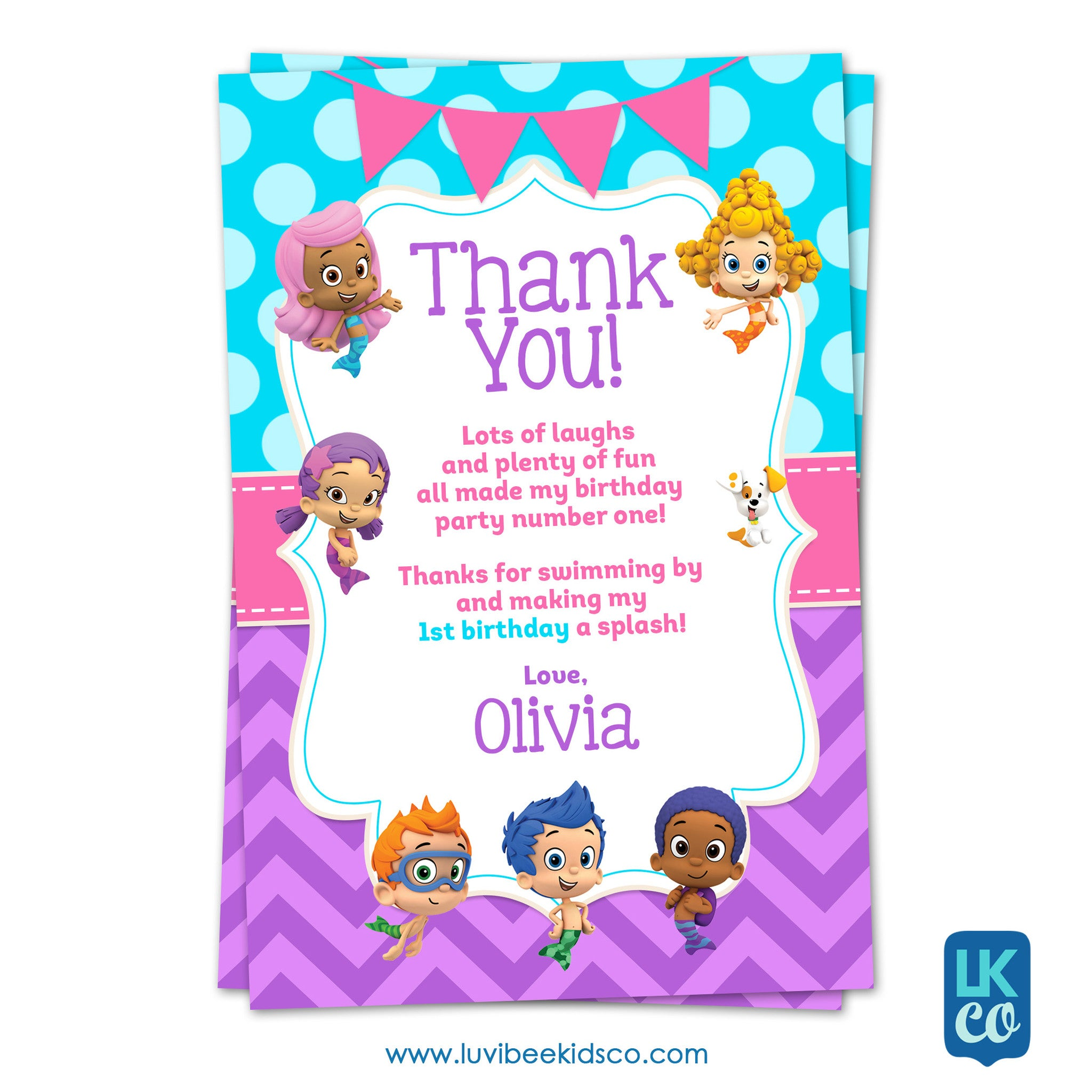 Bubble Guppies - Girl's Style | Blue & Purple | Personalized Thank You Card 4x6 - LuvibeeKidsCo