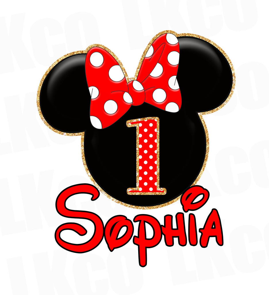 Minnie Mouse Iron On Transfer | Red Bow & Gold Glitter - LuvibeeKidsCo