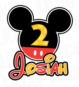 Mickey Mouse Iron On Transfer | Black, Red, Yellow #2 - LuvibeeKidsCo