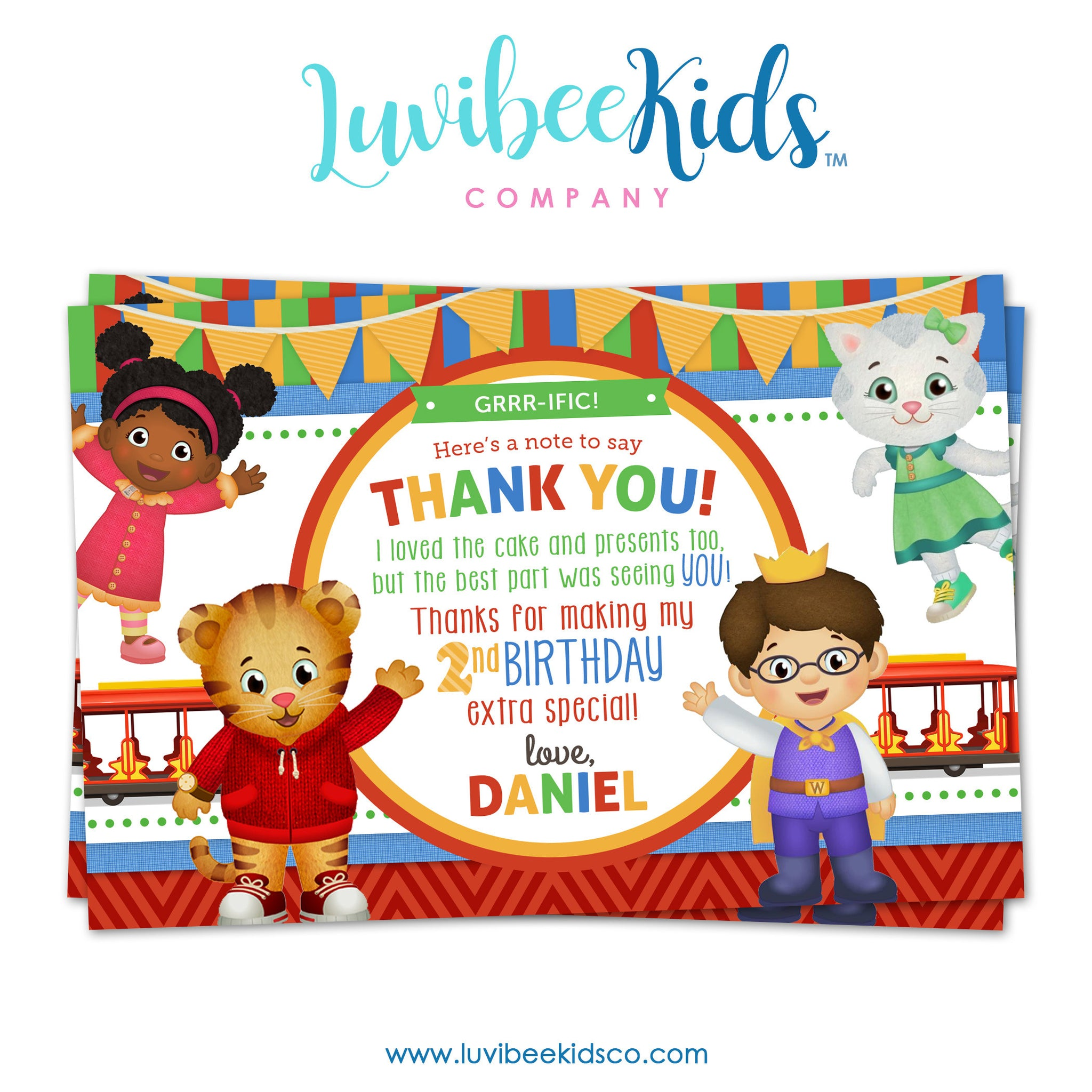 Daniel Tiger Personalized Thank You Card | Stripes & Chevrons - LuvibeeKidsCo