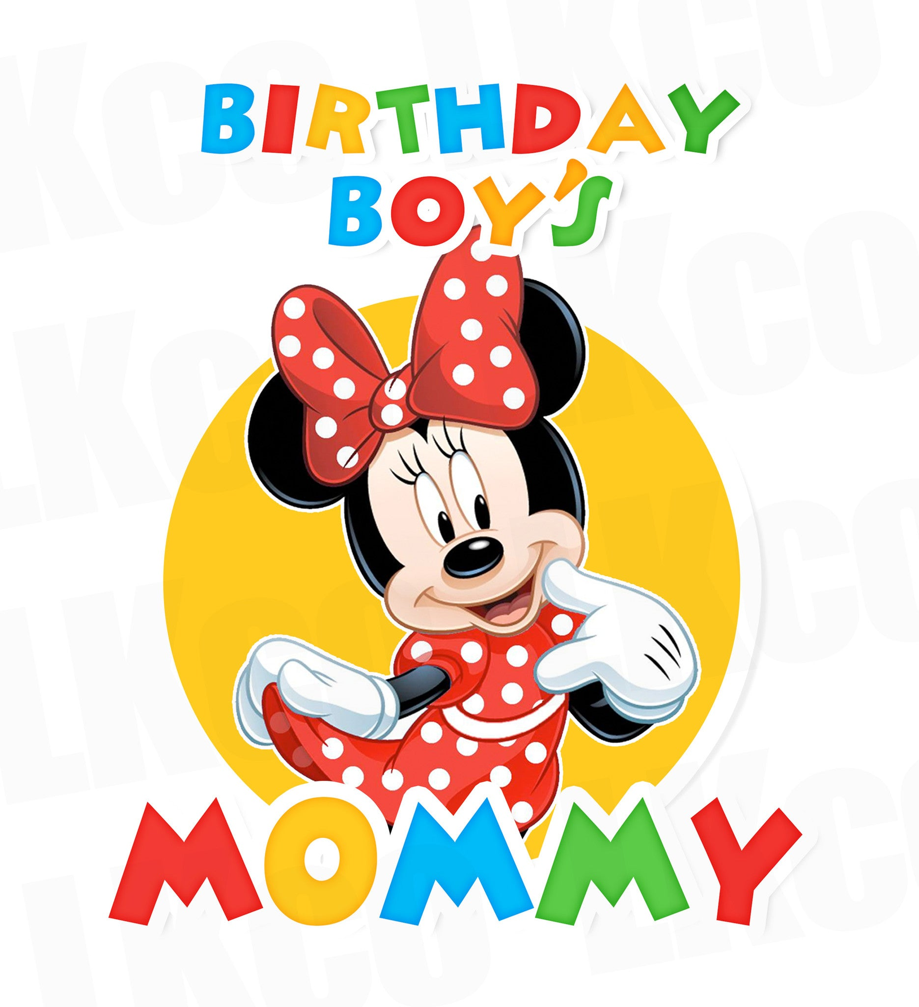 Mickey Mouse Iron On Transfer | Daddy or Mommy Transfer | Primary Colors - LuvibeeKidsCo