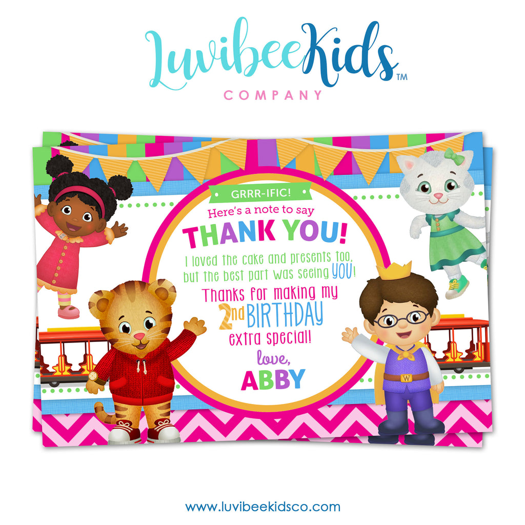 Daniel Tiger Personalized Thank You Card | Pink Stripes & Chevrons