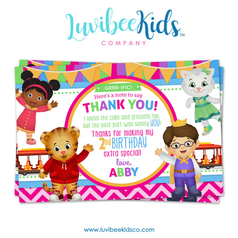 Daniel Tiger Personalized Thank You Card | Pink Stripes & Chevrons - LuvibeeKidsCo