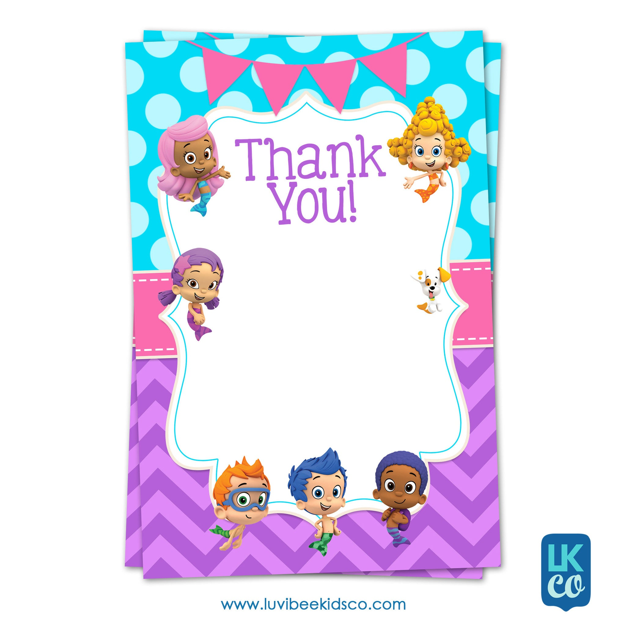 Bubble Guppies - Girl's Style | Blue & Purple | Blank Thank You Card 4x6 - LuvibeeKidsCo