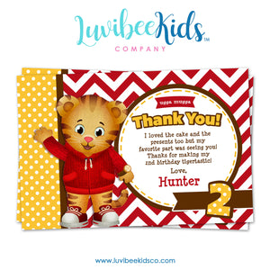Daniel Tiger Personalized Thank You Card | Red Chevrons - LuvibeeKidsCo