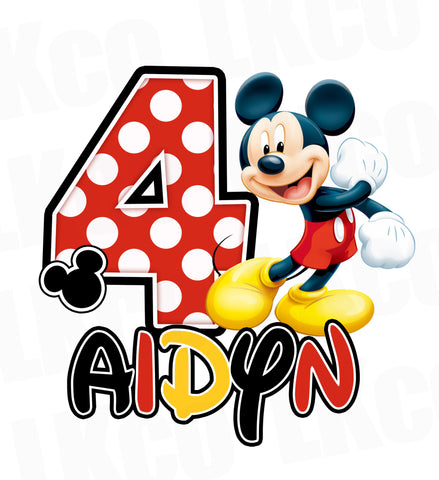 Mickey Mouse Iron On Transfer | Dots | Black, Red, Yellow #3