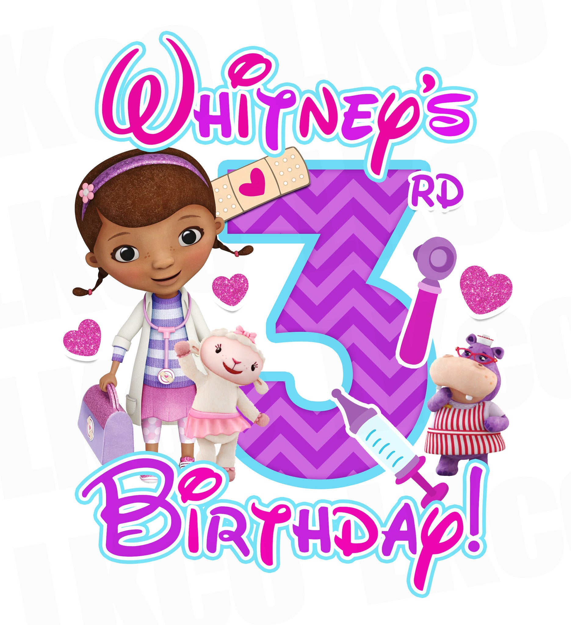 Doc McStuffins Birthday Design | Pink & Purple Multi - LuvibeeKidsCo