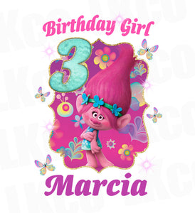 Trolls Poppy Iron On Transfer | Birthday Girl - LuvibeeKidsCo
