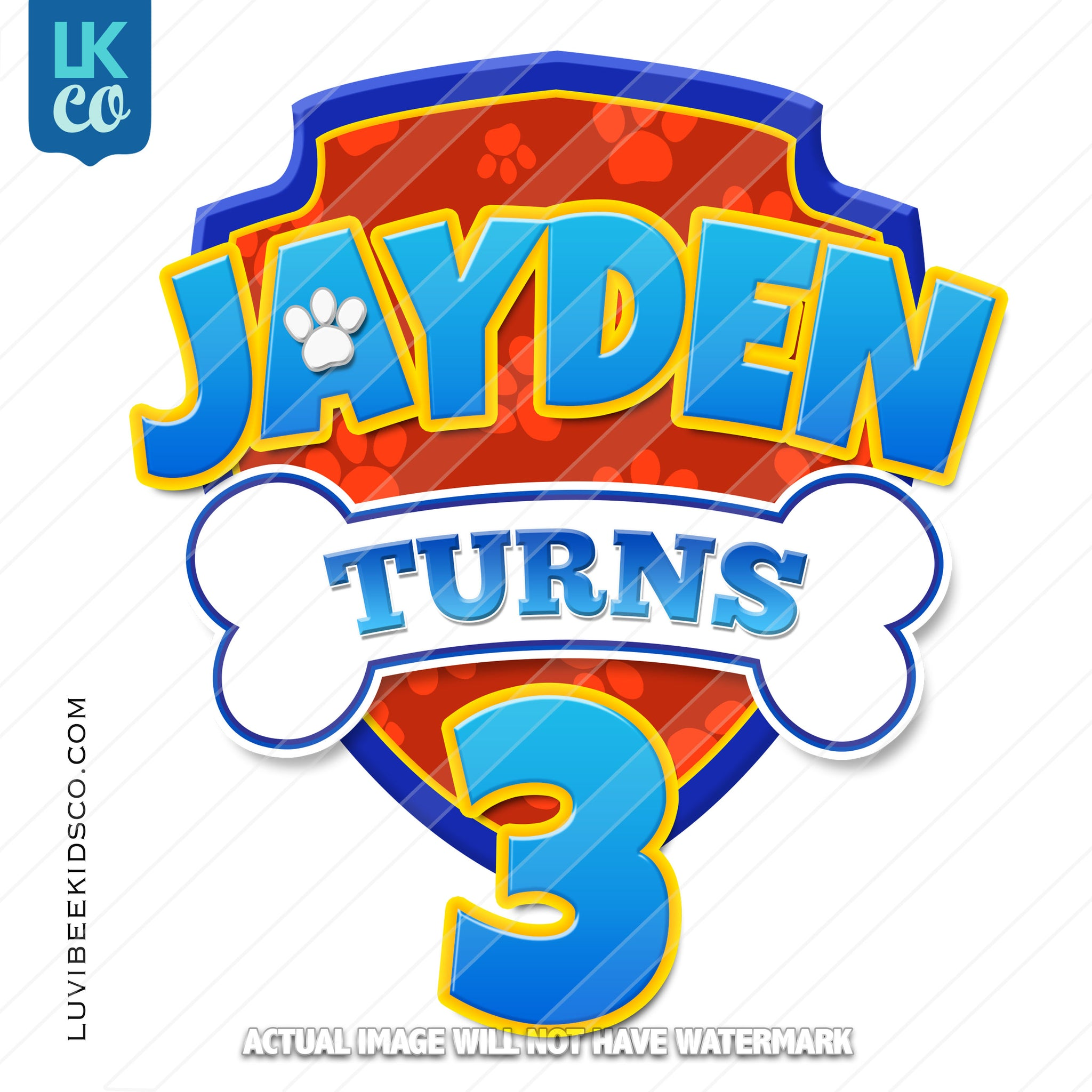 Paw Patrol Inspired Iron On Transfer - Birthday Design with Personalized Name and Age - LuvibeeKidsCo