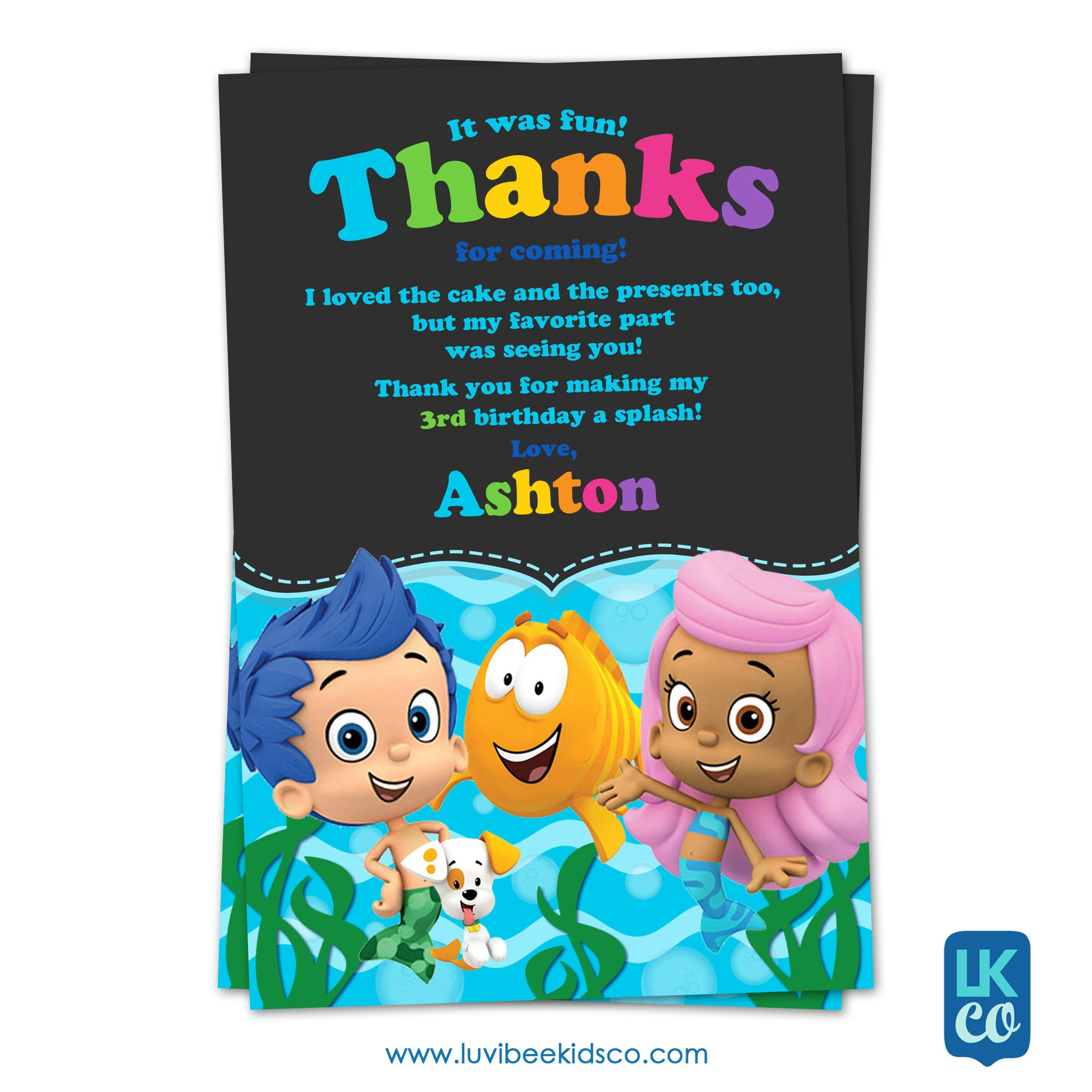 Bubble Guppies - Birthday Invitation | Chalkboard Rainbow | Personalized Thank You Card 4x6 - LuvibeeKidsCo