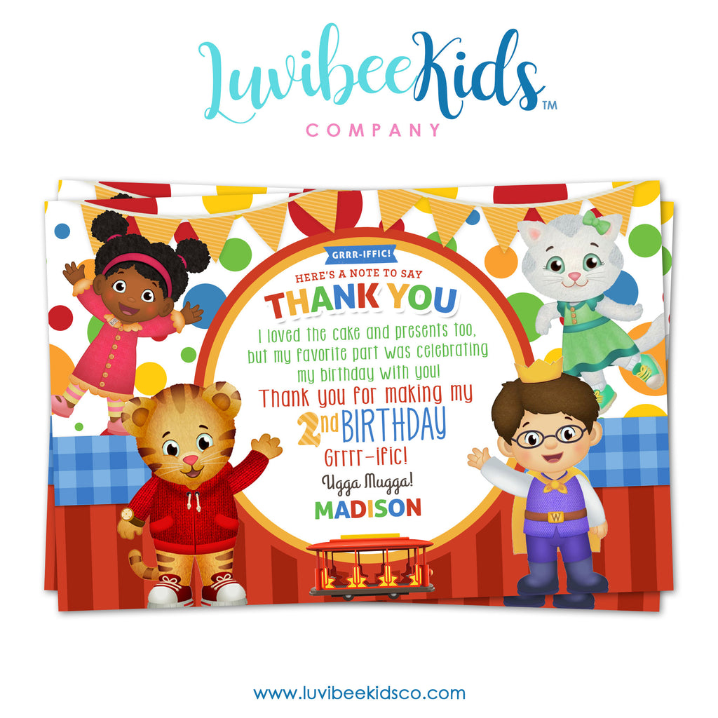 Daniel Tiger Personalized Thank You Card | Dots & Stripes