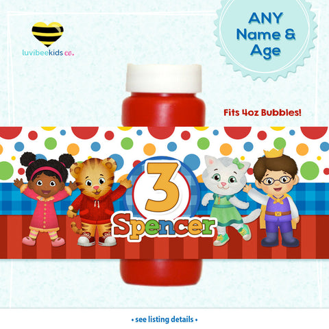 Daniel Tiger Birthday Party Bubble Labels | Red Dots & Stripes - LuvibeeKidsCo