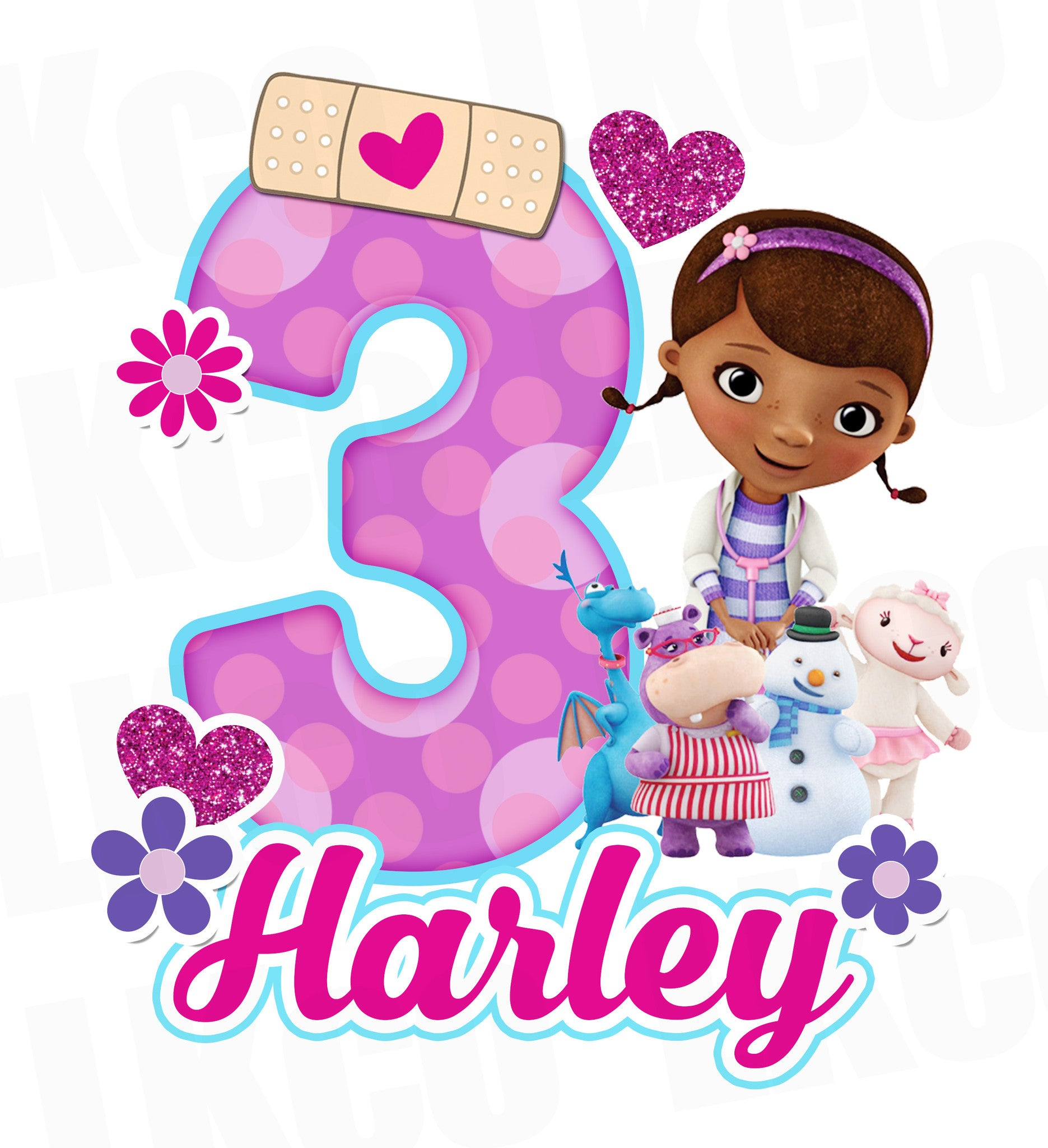 Doc McStuffins Birthday Design | Purple Dots - LuvibeeKidsCo