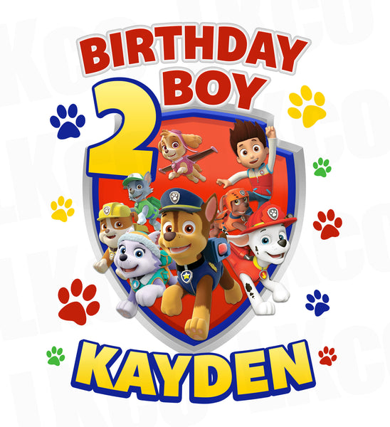 Paw Patrol Iron On Transfer | Primary Colors Paw Prints | Birthday Boy - LuvibeeKidsCo