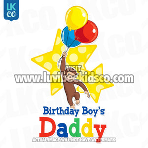 Curious George Iron On Transfer | Birthday Boy's Daddy | Primary Colors - LuvibeeKidsCo