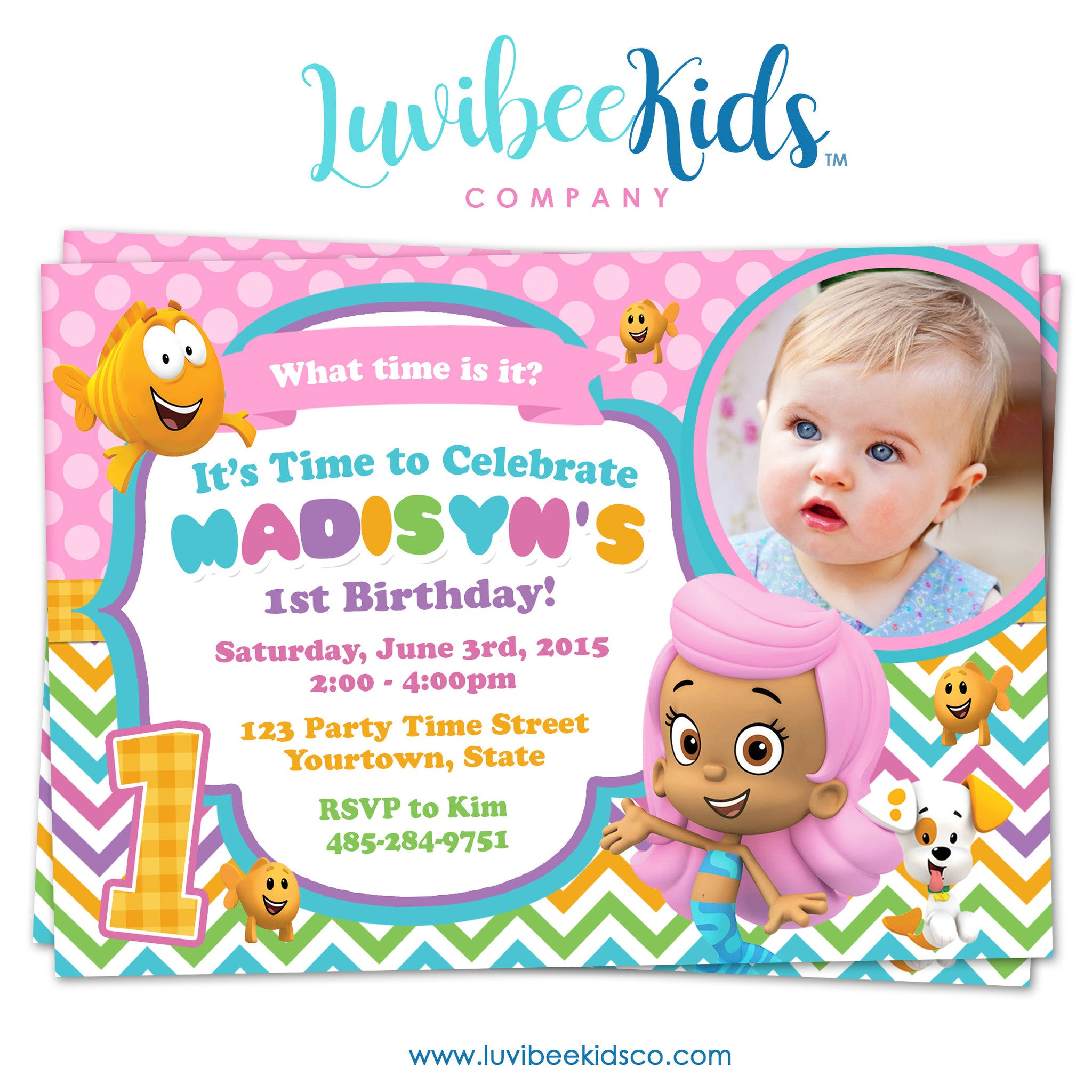 Bubble Guppies - Birthday Invitation - Rainbow Girl's Style with Photo | 001 - LuvibeeKidsCo