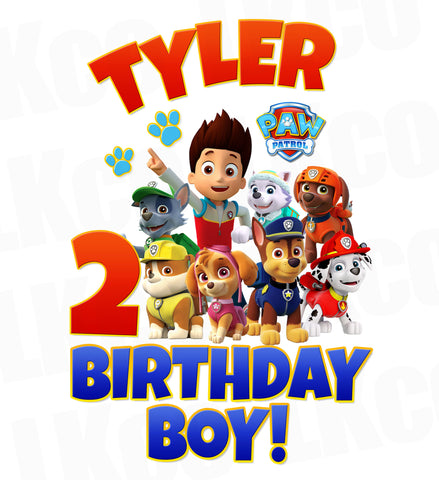 Paw Patrol Iron On Transfer | Birthday Boy #02 - LuvibeeKidsCo