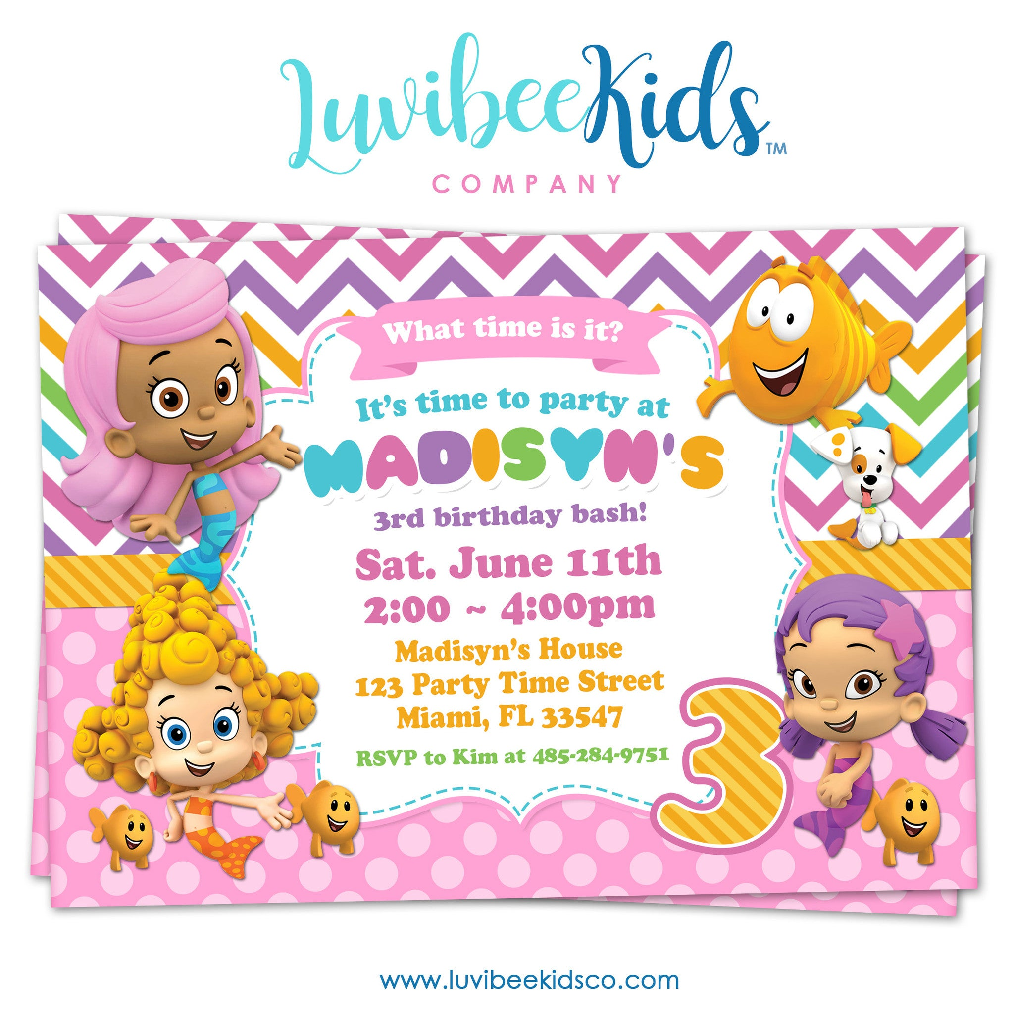 Bubble Guppies - Birthday Invitation - Rainbow Girl's Style | 002 - LuvibeeKidsCo