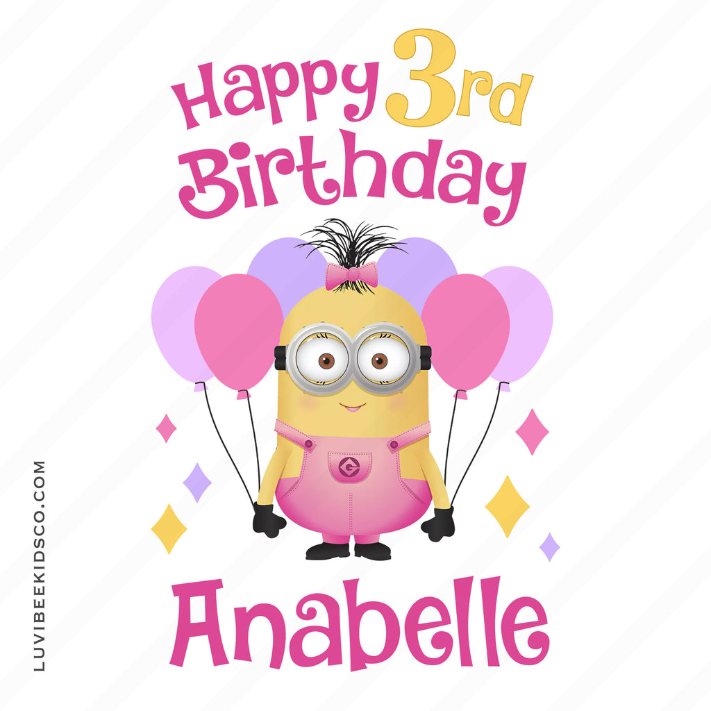Minions Iron On Transfer | Happy Birthday Girl Design