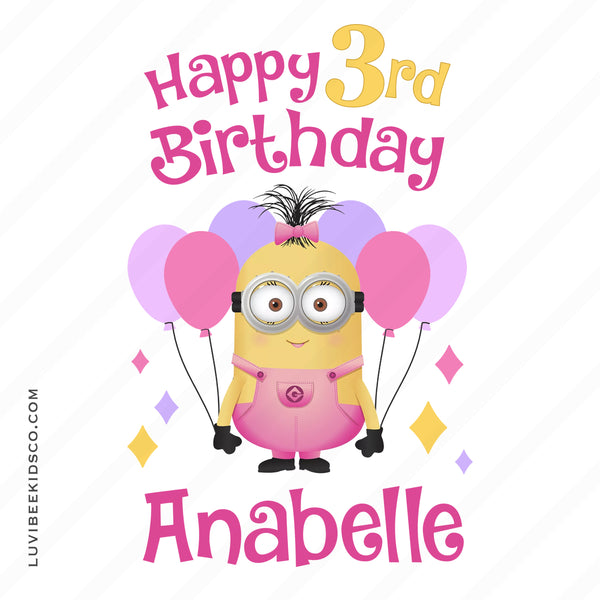 Minions Iron On Transfer | Happy Birthday Girl Design - LuvibeeKidsCo