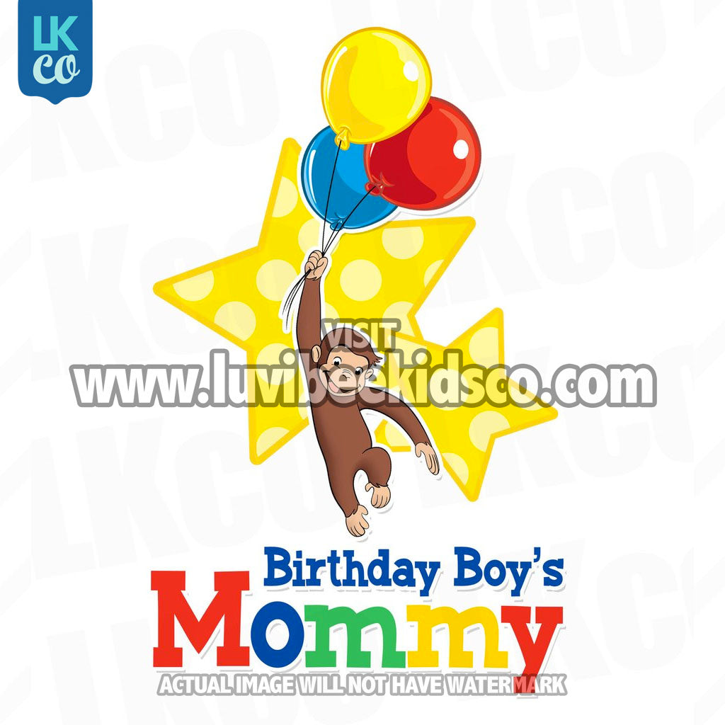 Curious George Iron On Transfer | Birthday Boy's Mommy | Primary Colors - LuvibeeKidsCo