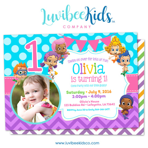Bubble Guppies - Birthday Invitation - Girl's Style | Blue & Purple with Photo | 002