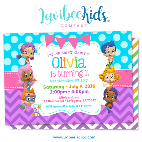 Bubble Guppies - Birthday Invitation - Girl's Style | Blue & Purple | 002