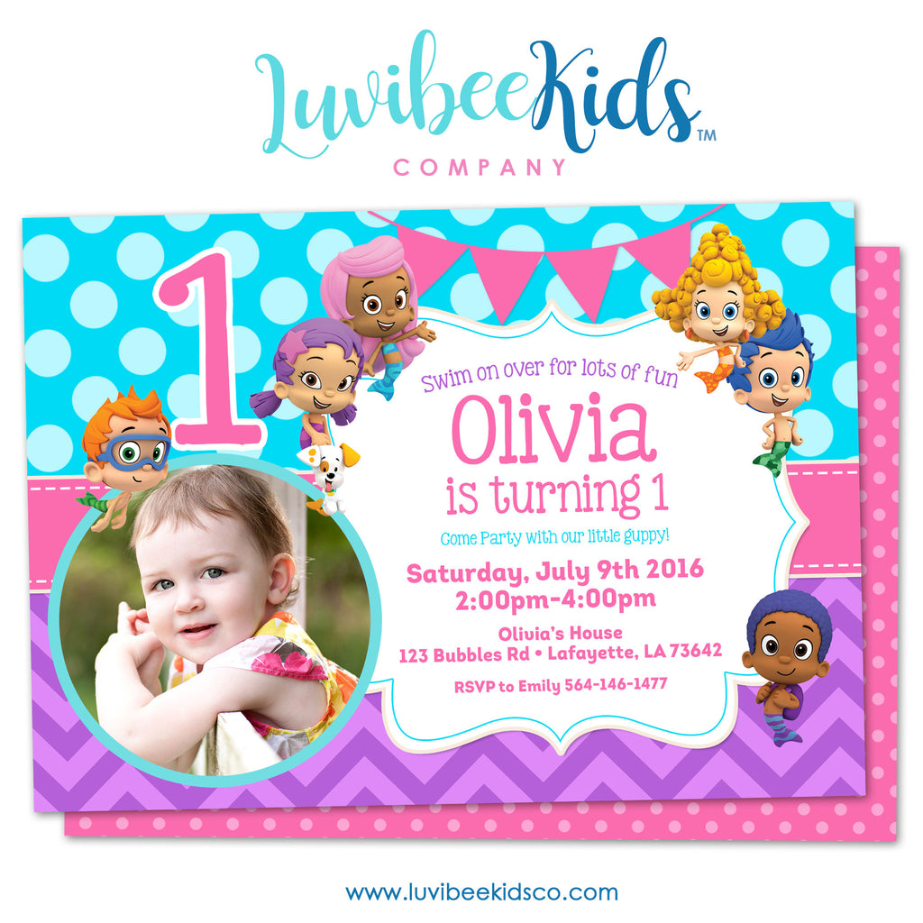 Bubble Guppies - Birthday Invitation - Girl's Style | Blue & Purple with Photo | 001