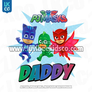 PJ Masks Iron On Transfer | Daddy