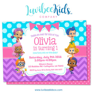 Bubble Guppies - Birthday Invitation - Girl's Style | Blue & Purple | 001 - LuvibeeKidsCo