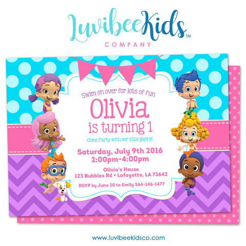 Bubble Guppies - Birthday Invitation - Girl's Style | Blue & Purple | 001