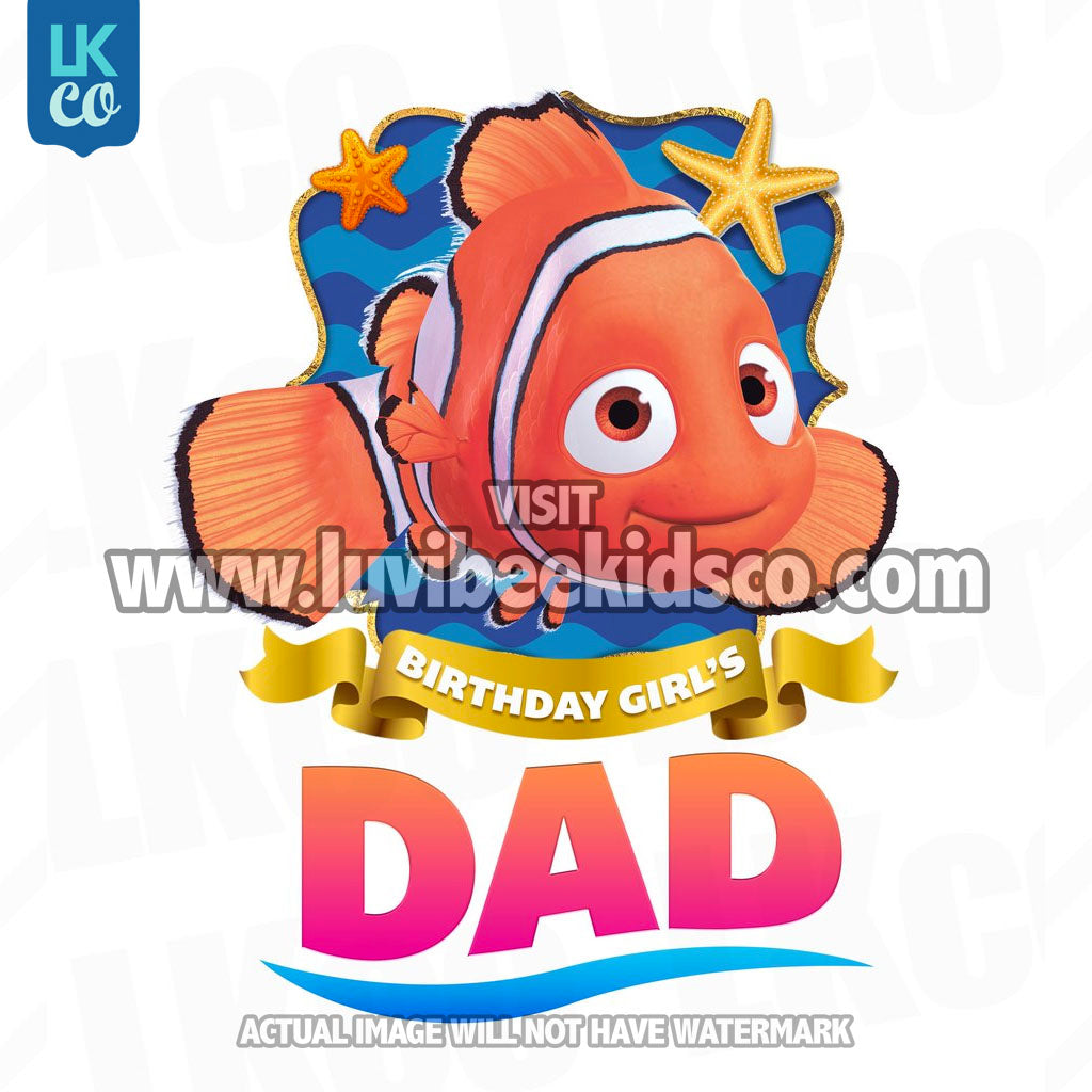 Finding Nemo & Dory Iron On Transfer | Birthday Girl's Dad - LuvibeeKidsCo
