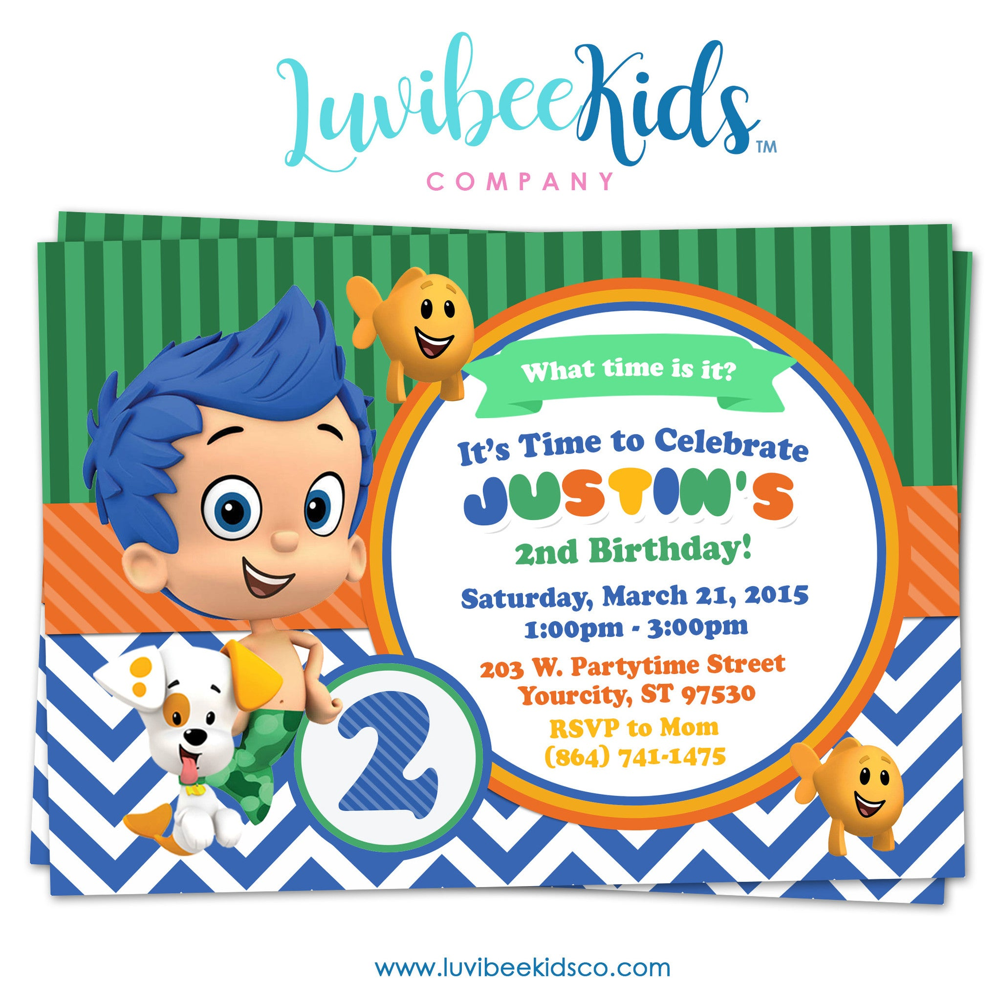 Bubble Guppies - Birthday Invitation - Boy's Style | 002 (Gil Only) - LuvibeeKidsCo