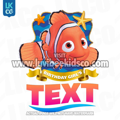 Finding Nemo & Dory Iron On Transfer - Birthday Girl | Add Family Members - LuvibeeKidsCo