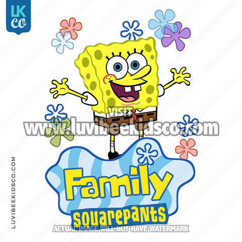 Spongebob Squarepants Iron On Transfer Design - Add Family Members - LuvibeeKidsCo