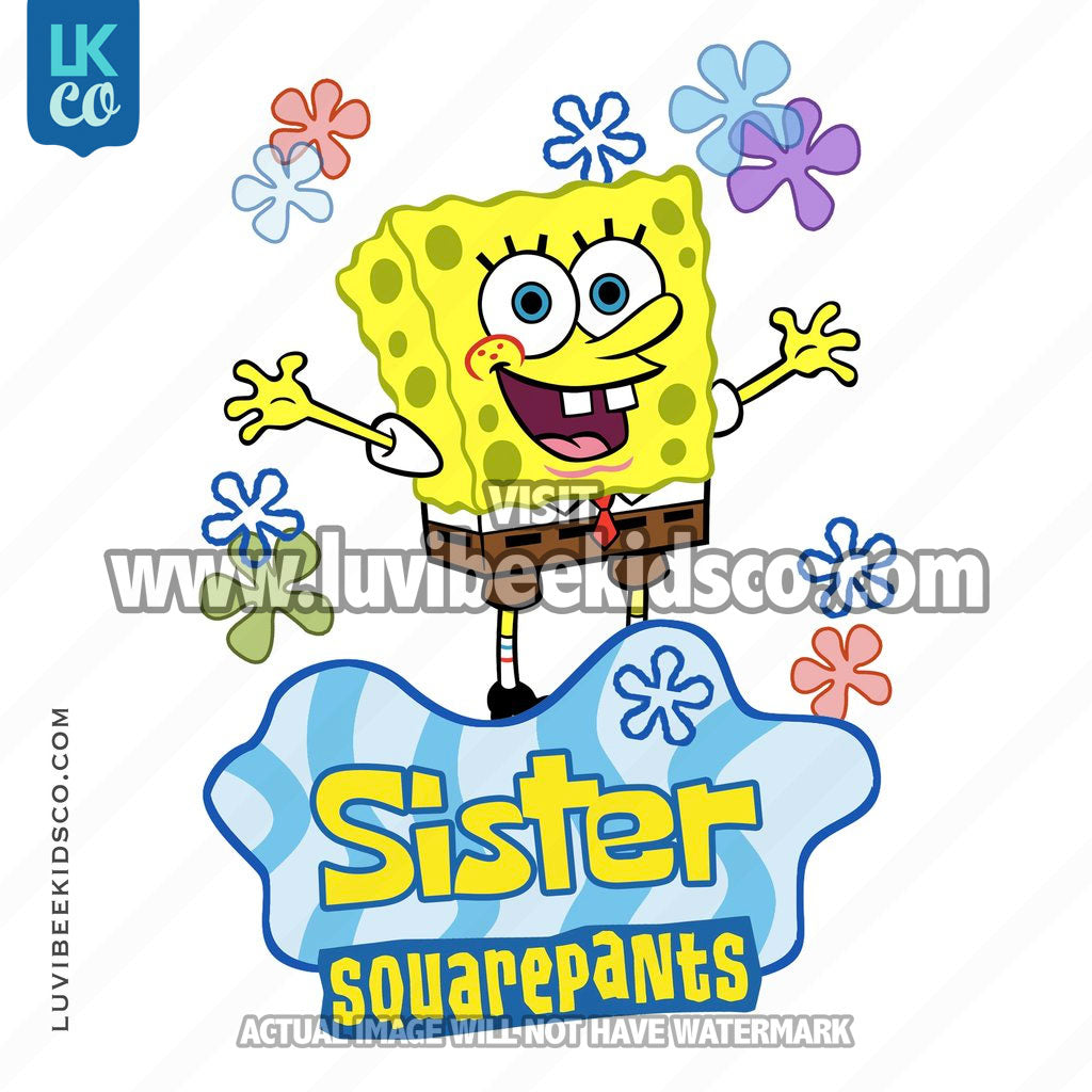 Spongebob Squarepants Iron On Transfer Design - Sister - LuvibeeKidsCo