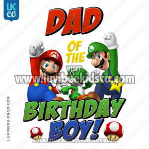 Super Mario Bros Iron On Transfer - Dad of the Birthday Boy - LuvibeeKidsCo