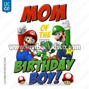 Super Mario Bros Iron On Transfer - Mom of the Birthday Boy