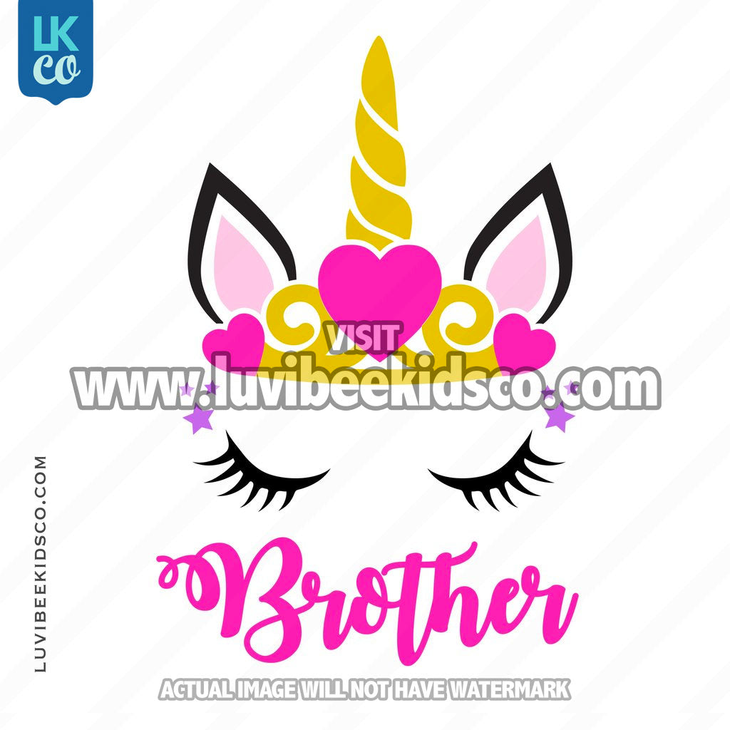 Unicorn Iron On Transfer | Princess - Brother - LuvibeeKidsCo