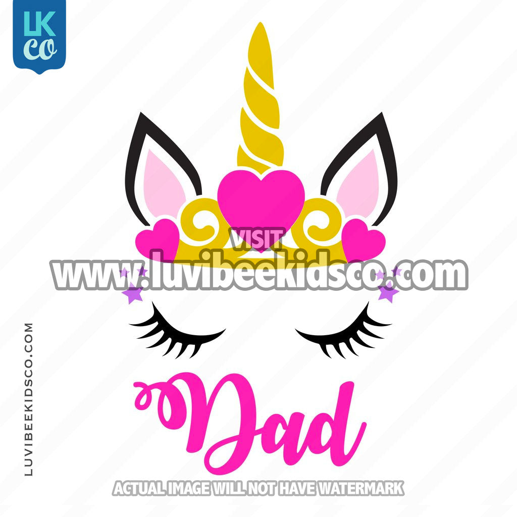 Unicorn Iron On Transfer | Princess - Dad - LuvibeeKidsCo