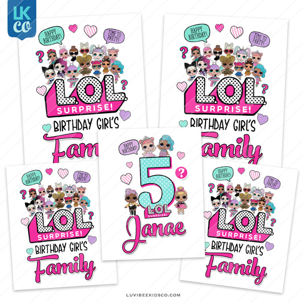 LOL Surprise Iron On Transfer Designs - Style 2 - Family Pack - LuvibeeKidsCo