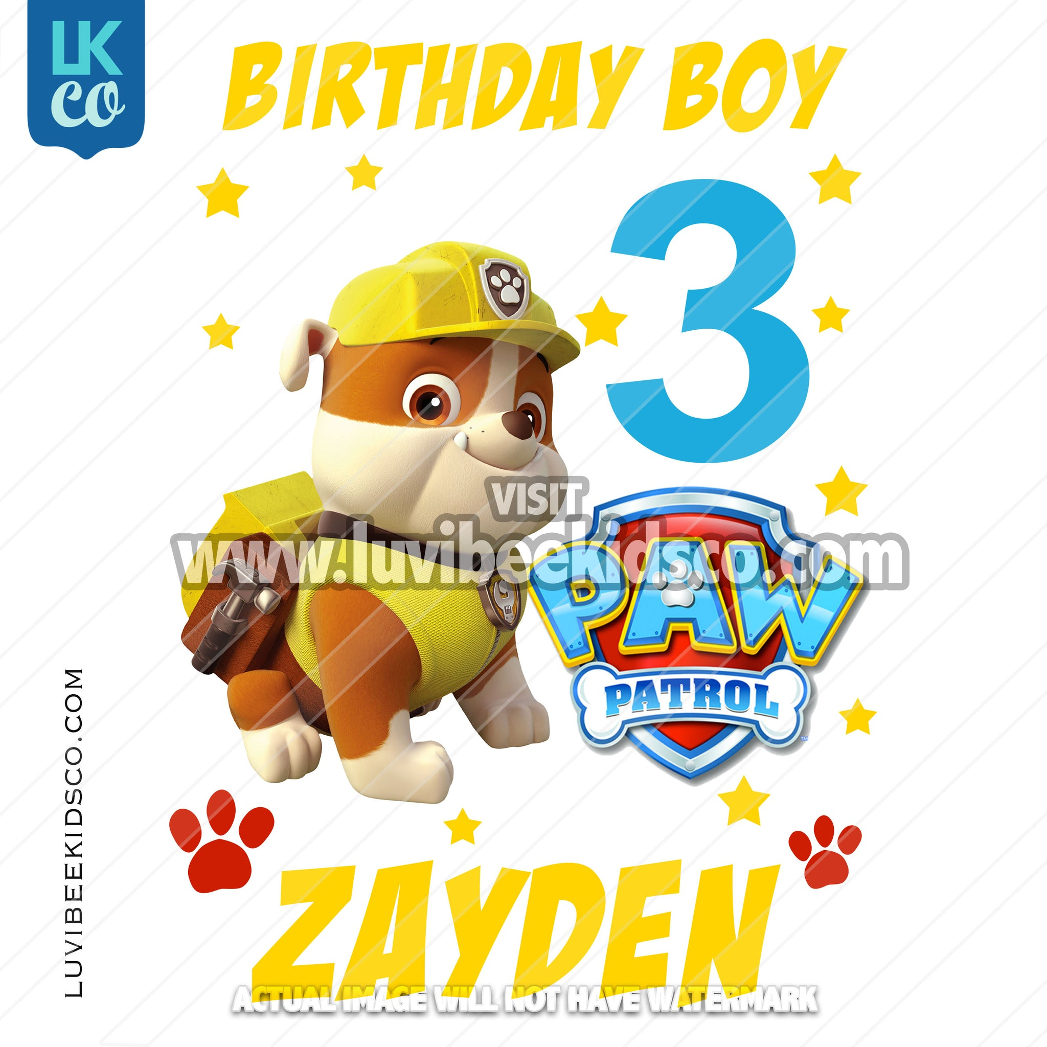 Paw Patrol Iron On Transfer - Rubble Pup | Birthday Boy - LuvibeeKidsCo