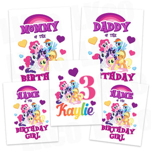 My Little Pony Iron On Transfers Family Pack | Birthday Girl Hearts - LuvibeeKidsCo