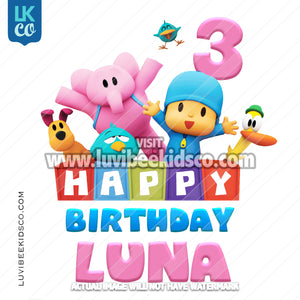 Pocoyo Heat Transfer Design | Happy Birthday - Pink - LuvibeeKidsCo