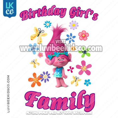 Trolls Poppy Iron On Transfer - Add Family Member | Birthday Girl - Flowers - LuvibeeKidsCo