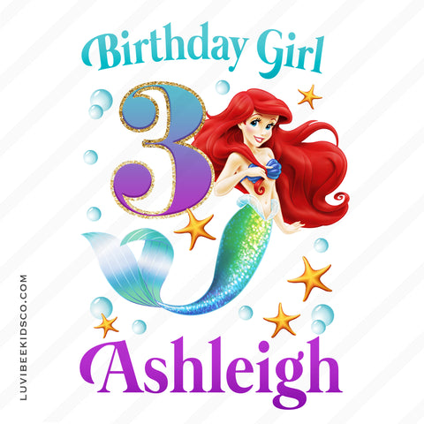 Little Mermaid Iron On Transfer - Birthday Girl - LuvibeeKidsCo